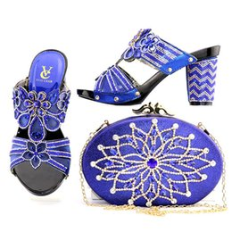 Wholesale Italian Green Party - Italian royal blue Shoes and Bags To Match Shoes with Bag Set Decorated with Rhinestone Women Shoes and Bag Set XF002