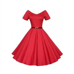 Wholesale Fit Ball Mini - HOT Fashion Ball Gown party casual vitage retro close-fitting slim dress wedding prom dress red blue blackvestidos