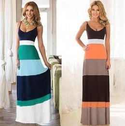 Wholesale Long Cotton Sundresses Women - Women Summer Dress Sexy Casual Boho Long Maxi Dress Elegant Evening Party Beach Striped Dresses Vest Sundress New Hot