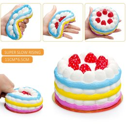 Wholesale Food Phone Charms - Squishy Rainbow Strawberry Cake Slow Rising Decompression bread Relieve Stress Sweet Food Cell Phone Strap Phone Pendant Key Chain Toy Gift