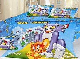 Wholesale Tom Jerry Duvet Cover Set - Wholesale- Tom and jerry bedding set Boys Twin full size Bedding kids duvet cover Set boys 100%cotton 3d cartoon Duvet cover bed sheets