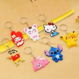 Wholesale Toy Car Bulk - 20 Styles Lovely 5CM Cartoon PVC Key Chains Toy Keychains Car Key Ring Bag Pendant Car Keychain Rings Bulk