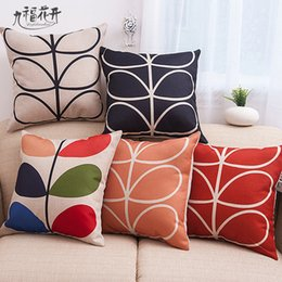 Wholesale Hidden Leaf - Jiufuhuakai Polyester linen Handle Leaf Colorful Countryside Hidden Zipper Home Car Sofa Pillow Cushion Cover 45*45cm