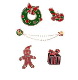 Wholesale Studs For Shirts - Wholesale- Hot Cute Snow man Gift Box Stud Blouse Shirts Collar Clip Neck Tip Brooch Pin Chain For Xmas Christmas Gift
