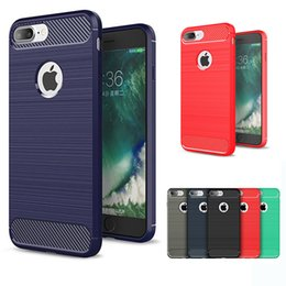 Wholesale Brushed Iphone Case - Carbon Fiber Case TPU Hybrid Armor Cases Defender Brushed Back Cover For iPhone X 8 7 6 6S Plus 5 5S SE Sumsung S8 Plus