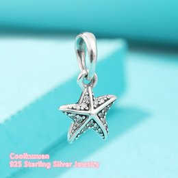 Wholesale Starfish Beads Bracelet - 2017 Summer 925 Sterling Silver Bead Charm Tropical Starfish, Clear CZ Pendant Beads Fit Original Pandora Bracelet Jewelry