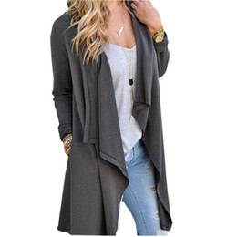 Wholesale Black Shawl Collar Cardigan - 2017 Women Slim Outerwear Coat Cardigan Autumn Winter Femme Jackets Coats Long Sleeve Irregular Long Jacket Lady Plus Size GV906 q171122