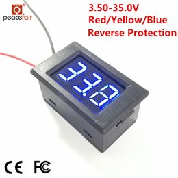 Wholesale Digital Panel Voltmeter Led - Peacefair DC digital Voltmeter 3.50V to 35.0 V 0.36 inch LED Volt Tester Reverse Protection Panel Meter