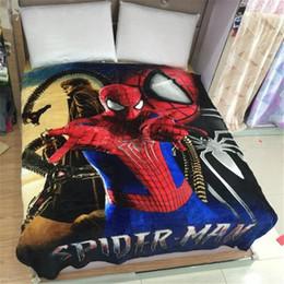 Wholesale Men Throws - Spider-Man Flannel Blanket Cartoon Pattern Sofa Throw Blanket Bed Quilt Plaid Blankets Children Adult Blanket Warm Size150x200cm