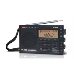 Wholesale Power Speaker Rechargeable - Wholesale-Original TECSUN PL-680 FM Radio Synthesized Receiver Stereo Portable Radio DSP Digital Radio W Power Adapter&Battery Black