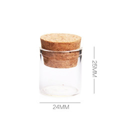 Wholesale Glass Jars Wood - 24*25mm 5ml Mini Glass Vials Jars Packaging Bottles Test Tube With Cork Stopper Empty Transparent Clear Bottles wa3190
