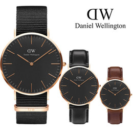Wholesale Mens Gold Leather Watch - New Mens Wellington watches 40mm Men watches 36 Women Watches Luxury Brand Quartz Watch Female Clock Relogio Montre Femme Wristwatches