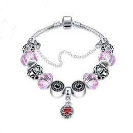 Wholesale Europe Fashion Charm Bead Bracelet - Wholesale Charm Bracelet Colorful Charming Chamilia Beads Bracelets Europe American Fashion Pink DIY Handmade Beaded Crystal Ladies Bracelet