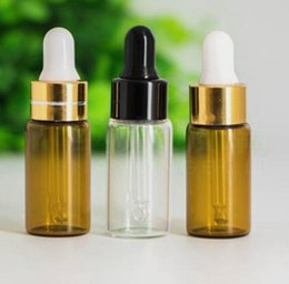 Wholesale Cosmetic Dropper Bottles - 5ml vape juice glass dropper bottle amber clear color small sample glass bottle for eliquid essential oil cosmetics packing