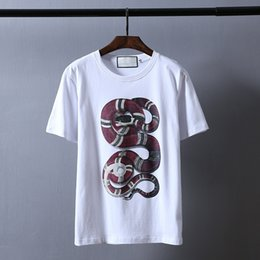 Wholesale Boa Shirt - The 2017 street fashion T-shirt, boa constrictor printed pure cotton short-sleeve shirt lover dress for surprise