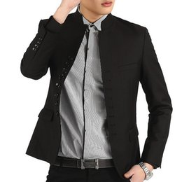 Wholesale Cheap Blazer Jackets Mens - Wholesale- 2016 Spring Retro Mens Blazer Jacket Cheap Slim Fit Mens Suits Designers Brand-Clothing Stand Collar Sui terno masculino