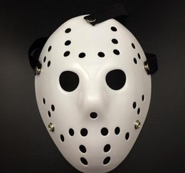 Wholesale Movie Masquerade - Free shipping 50pcs Halloween WHite Porous Men Mask Jason Voorhees Freddy Horror Movie Hockey Scary Masks For Party Women Masquerade Co