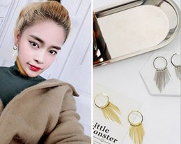 Wholesale Retro Circle Earring - Temperament simple retro exaggerated circle circle long section geometric exaggerated tassel earrings wholesale free shipping