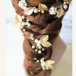 Wholesale Bride Hair Chain - Bridal Gold Leaf Hair Wear Pearl Flower Set Auger Jewelry Wedding Hair Accessories Bride Head Chain Hair Wear Jewelry (Hair+earring)