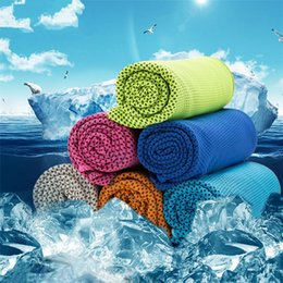 Wholesale Wholesale Sports Scarfs - 90*35cm Double Layer Ice Cooling Towel Cool Summer Cold Sports Towels Instant Cool Dry Scarf Soft Breathable Ice Belt Towel for Adult Kids