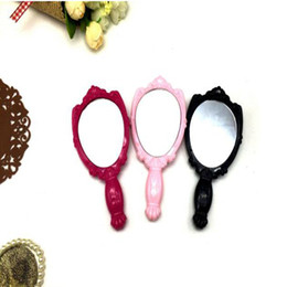 Wholesale Girls Hand Mirror - DHL Vintage Hand Mirrors Rose Cosmetic High Quality Plastic Makeup Mirror Cute Girl Hand Make Up Tools Shank Mirror