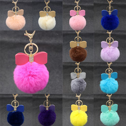 Wholesale Yellow Gold Purple Diamond Rings - Diamond Bowknot Keychain10cm Plush Cute Genuine Rabbit Fur Key Chain for Car Key Ring 18 Color Gift C131Q