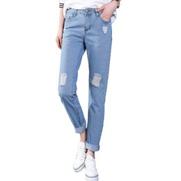 Wholesale New Style Trousers For Women - Wholesale- Ripped Jeans Women 2017 New Loose Boyfriend Jeans For Women High Waist Female Trousers Hole Pocket Jean Femme Plus Size FL274