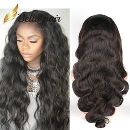 Wholesale Bouncy Wave Hair - Hair Wigs For Black Women Bouncy Body Wave Charming Wavy Lace Wigs Peruvian Virgin Human Hair Bella Hair Free Shipping