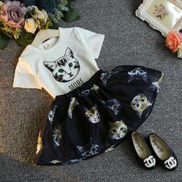 Wholesale Dot Tutu Dress Suits - HUG ME Girls dress suit Dot cat printed Bow t-shirt + tutu pettiskirt 2 pcs set outfit baby girl summer new set dress suit outfit clothes