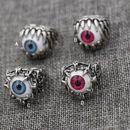 Wholesale Men Ring Skull Red - Men's Vintage Dragon Claw Evil Eye Skull Ring imitating Stainless Steel Biker Ring Devil Eyeball Halloween Party Props Men Jewelry