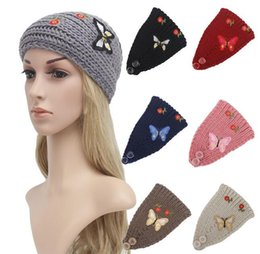 Wholesale East Knitting Fashion - New women fashion jewelry bowknot printing knitted headbands knit headwrap hats Ladies Warm ear warmers 7 color