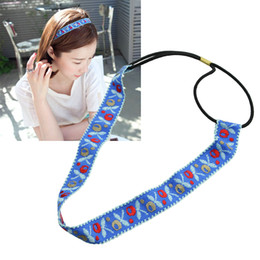 Wholesale Elastic Ribbon Braided - Summer Hairwear Fashion Elastic Braided Rope Blue Ribbon Colorful Flower Pattern Headbands Hair Accessories