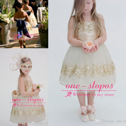 Wholesale Glitter Dress For Girls - 2017 Romatic Cute Flower Girls Dresses Princess Strapless Gold Sequined Glitter For Wedding Party Bow Formal Girls Pageant Ball Gowns