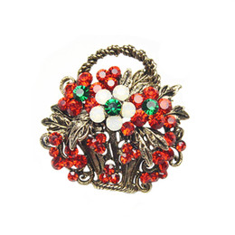 Wholesale Flower Basket Designs - Wholesale- Full Rhinestone Flower Basket Brooches for Women Vintage Brooch and Pin Fashion Jewelry Christmas Gift Hot Sale New Design