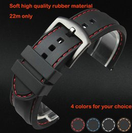 Wholesale Rubber Bracelets Free Shipping - Wholesale-Watch band 22mm Black Silicon Rubber Waterproof Divers Watch Strap Band Red Thread Size Free Shipping