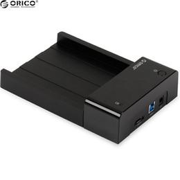 2019 3.5 festplatten Großhandels-ORICO 6518SUS3 ABS Plastikmaterial-Festplattenlaufwerk-Einschließung USB 3.0 Festplatten-Kasten Kompatibel mit 2.5 3.5 Zoll HDD / SSD günstig 3.5 festplatten