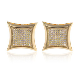 Wholesale Gold Square Stud - New fashion AAA+ Cubic Zircon diamond 2017 Man women Stud Earrings yellow 18K gold filled Micro Paved square Earrings wedding jewelry