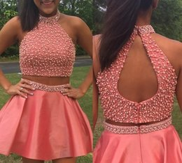 Wholesale Vestidos Sweet 16 Shorts - 2017 Two Pieces Short Mimi Sweet 16 Prom Homecoming Dresses High Neck Cheap Cocktail Party Dress Gowns Beaded School Vestidos De Festa