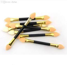 Wholesale Eye Shadow Sponge Brush - Wholesale-12Pcs Makeup Double-end Eye Shadow Eyeliner Brush Sponge Applicator Tool for Women Lady Beauty