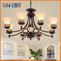 Wholesale Foyer Lighting Semi Flush - American Lobby hall Foyer ceiling light lamp vintage retro antique up down glass lamp shade Iron semi-flush ceiling lamp light