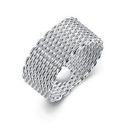 Wholesale mesh rings - Fashion 925 Sterling Silver rings jewelry handmade net round rings mesh rings Size 6.7.8.9.10,Can be mixed size