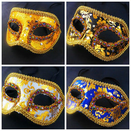 Wholesale Venice Free - 20pc HOT Half Face Halloween Masquerade mask male Venice Italy flathead lace bright cloth masks Halloween Mask Party Mask free shipping H41