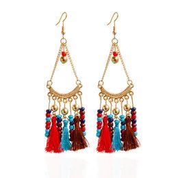 Wholesale Hot Girl Stylish - Hot 5 colors bohemia boho Vintage Handmade gold plated beads tassel Pendant Earring Stylish Women girl gift Lady Holiday Jewelry