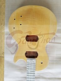 Wholesale Ebony One Piece - wholesale 2017 New Top Quality one piece wood body and one piece neck lp guitar kit with good tiger maple top in stock free shipping