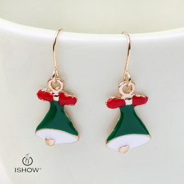 Wholesale Asian Bells - Fashion charm earrings green Christmas bell eardrop gift for gril or women earrings for girls gold designs