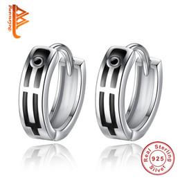 Wholesale Hoop Cross Earrings Men - BELAWANG New Design Wholesale Genuine 925 Sterling Silver Rock Punk Hoop Earrings With black Enamel Cross Earring Jewelry for Women Men