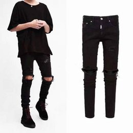 Ropa coreana xxl online-la rodilla rasgó los hombres jeans ropa urbana punk coreano azul negro diseñador apenado estiramiento flaco rasgado pantalones vaqueros M-XXL