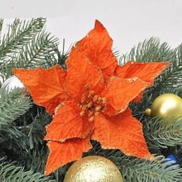 Laranja decoração árvore de natal on-line-Decorações da árvore de natal 10 pçs / lote flor ano novo decoração de natal natal orange pingente de flor