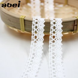 Wholesale Crafting Ribbons - 20yards lot 1.5cm Cotton Lace Trims White Ribbon Wedding Party Craft Hometexile Child Dress Sewing Patchwork Handmade Material