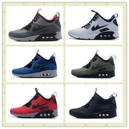 Wholesale Sportswear Running Shoes - Hot Sale Red Blue Boy Air Sportswear Sports Shoes Men Air Mid Winter Running Shoes Trainer Sneakers With Box Size US5.5--11
